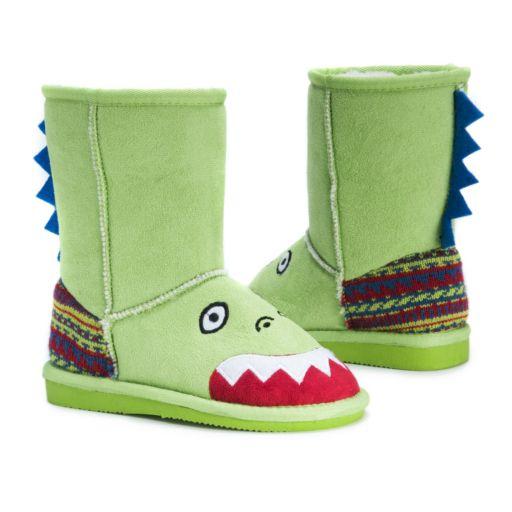 MUK LUKS Rex Dinosaur Kids' Plush Boots