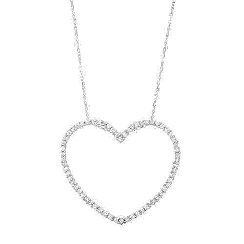 10k White Gold 1 Carat T.W. Diamond Heart Pendant Necklace