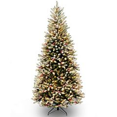 National Tree Company 6.5-ft. Pre-Lit Dual Color Frosted Mountain Fir Artificial Christmas Tree Floor Decor