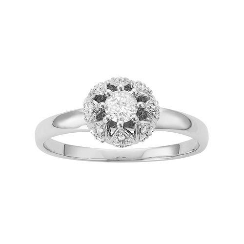 10k White Gold 1/3 Carat T.W. Diamond Ring
