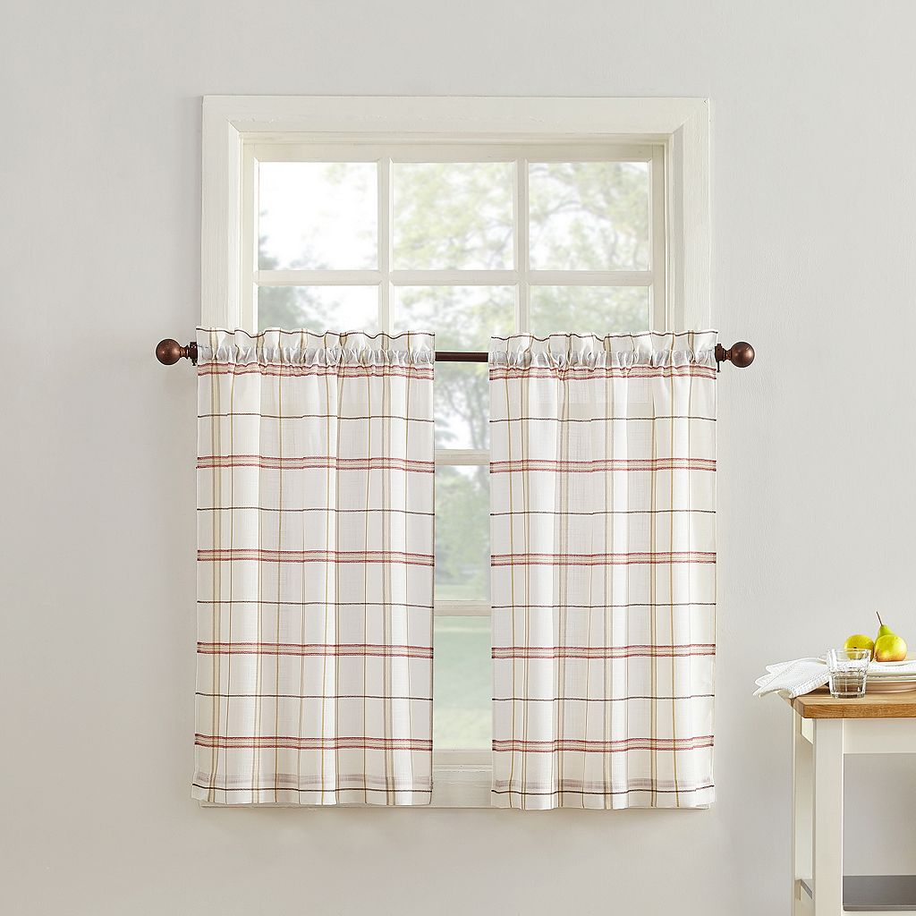 Top of the Window Monroe Plaid Light Filtering Kitchen Tier