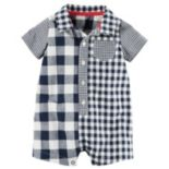 Baby Boy Carter's Checkered Button-Down Romper