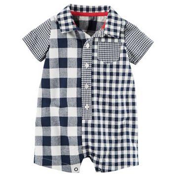 Baby Boy Carter's Checkered Button-Down Romper