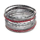 Red Stone Bangle Bracelet Set