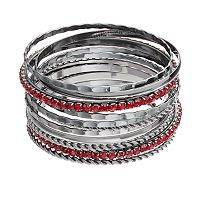 Red Stone Bangle Bracelet Set