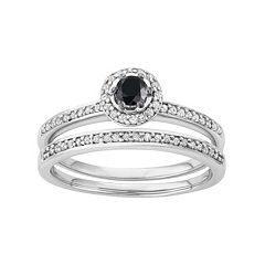 10k White Gold 1/2 Carat T.W. Black & White Diamond Halo Engagement Ring Set