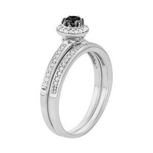 10k White Gold 1/2 Carat T.W. Black & White Diamond Halo Engagement Ring Set
