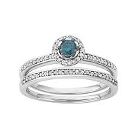 10k White Gold 1/2 Carat T.W. Blue & White Diamond Halo Engagement Ring Set