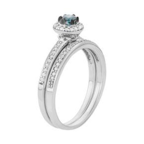10k White Gold 1/2 Carat T.W. Blue & White Diamond Halo Engagement Ring Set