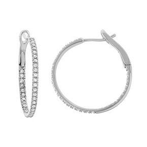 14k White Gold 1/2 Carat T.W. Diamond Inside Out Hoop Earrings