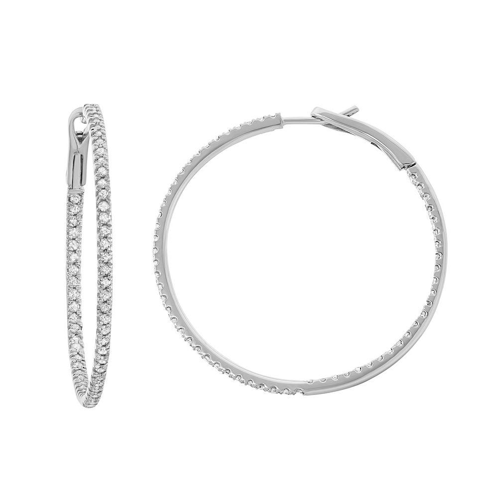 14k White Gold 1 Carat T W Diamond Inside Out Hoop Earrings