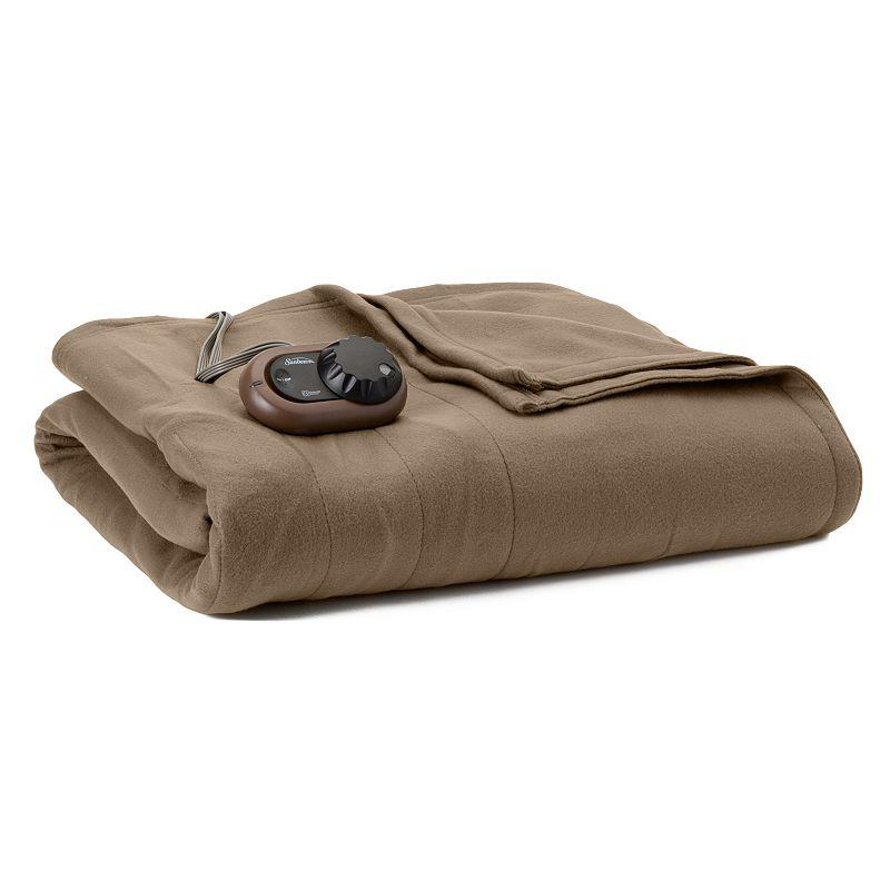 Sunbeam Slumber Rest Fleece Electric Blanket, Beig/Green (Beig/Khaki) -  BRF9HFS-R772-13A44
