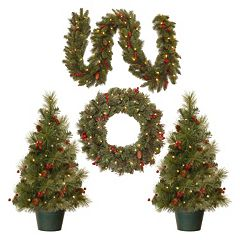 National Tree Company Artificial Porch Tree, Wreath & Garland Christmas Decor Set