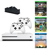 Xbox One S 500GB Minecraft Favorites Bundle with Controllers & Charging Dock