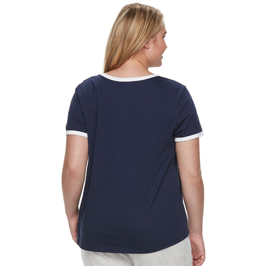 Juniors' Plus Size SO® Beach Squad Ringer Tee
