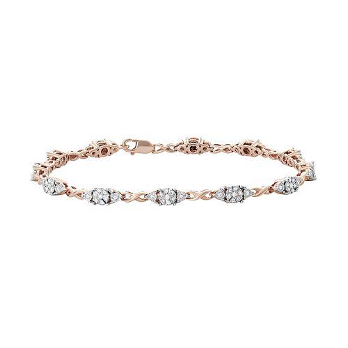 14k Rose Gold Over Silver 1/2 Carat T.W. Diamond Infinity Link Bracelet