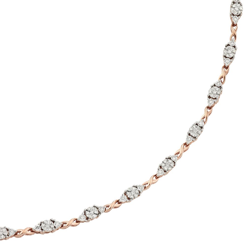 14k Rose Gold Over Silver 1/2 Carat T.W. Diamond Infinity Link Bracelet