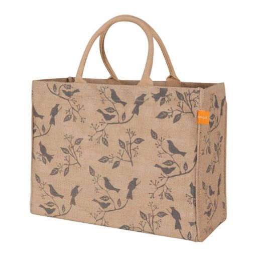 KAF HOME Birds Jute Tote Bag