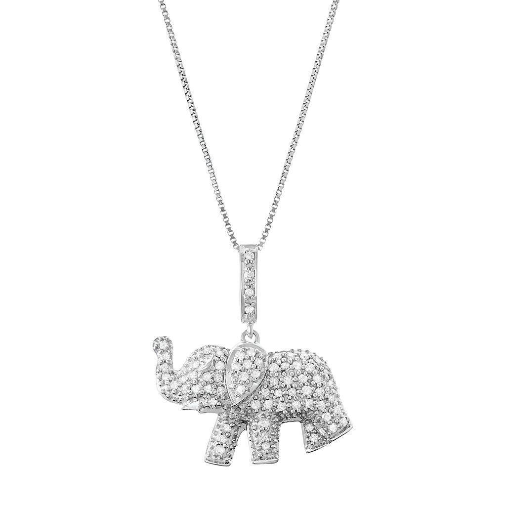 Sterling Silver 1/3 Carat T.W. Diamond Elephant Pendant Necklace
