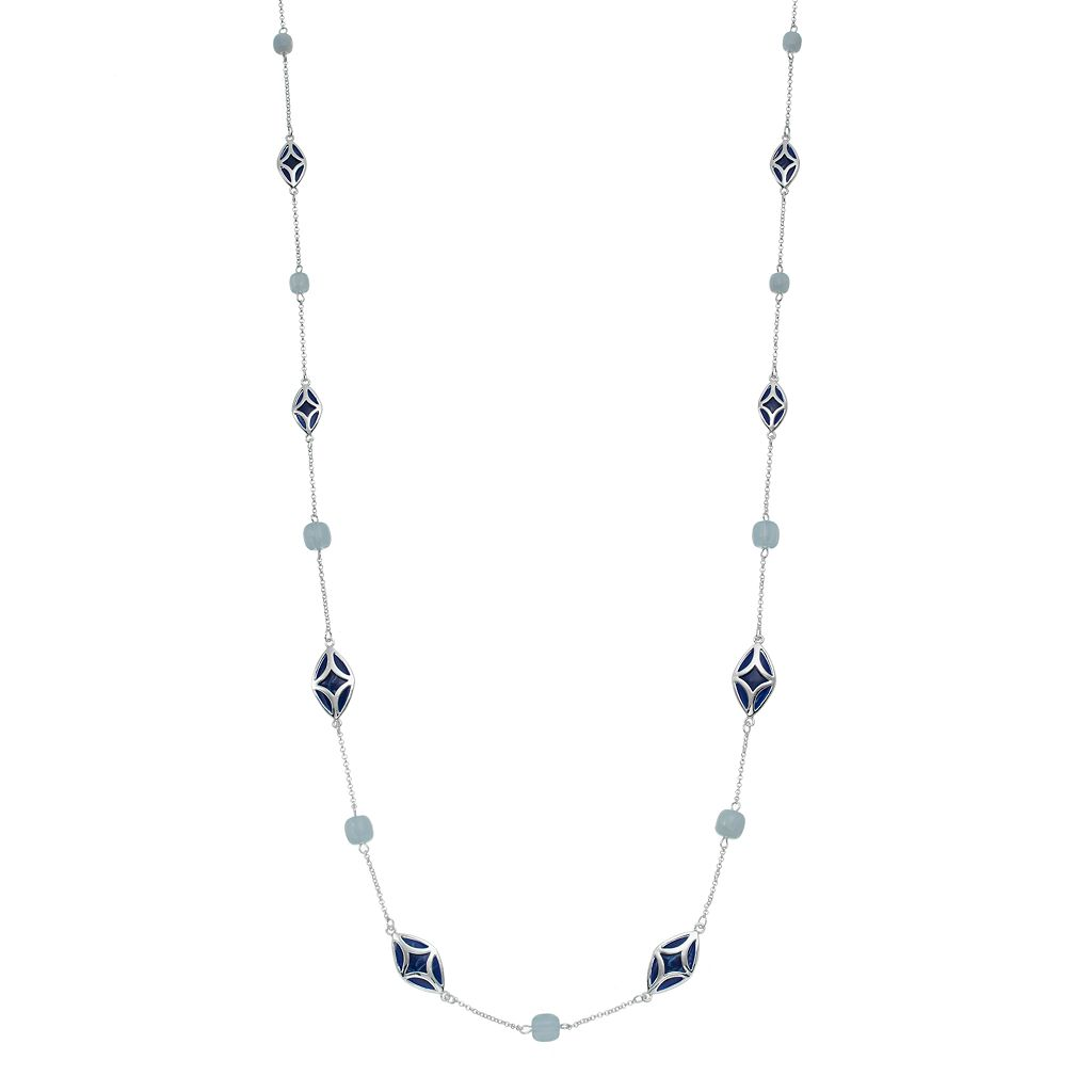 Chaps Blue Beaded Station Necklace