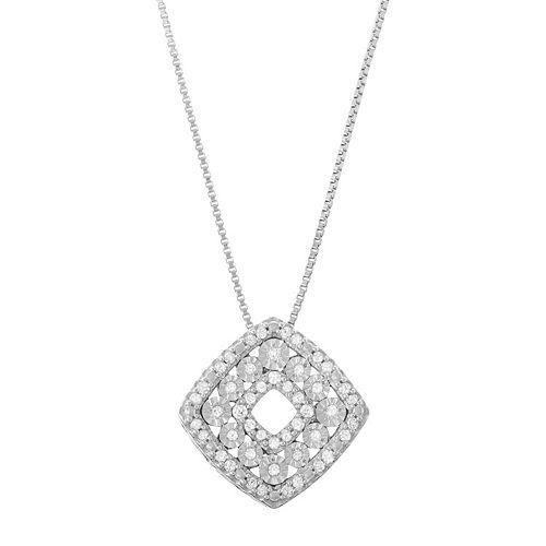 Sterling Silver 1/5 Carat T.W. Diamond Square Pendant Necklace