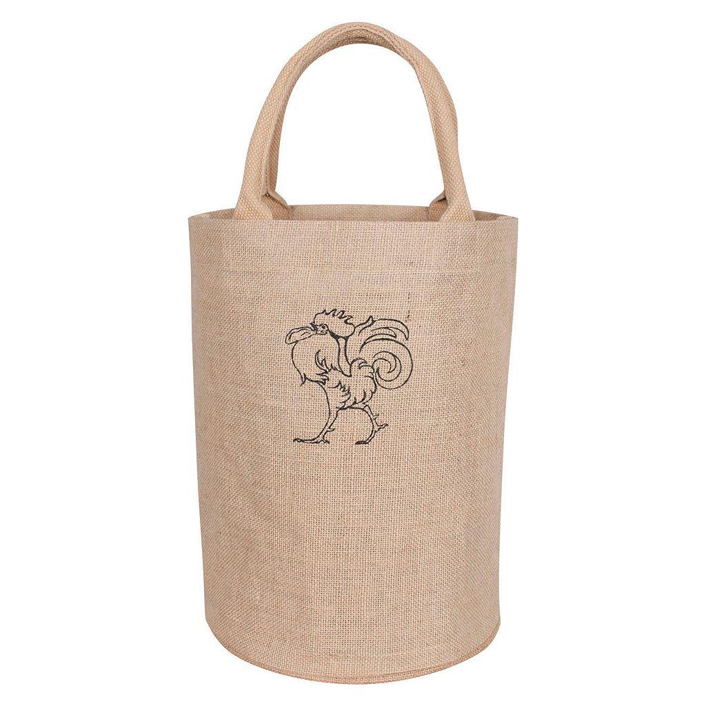 KAF HOME Rooster Jute Bucket Bag