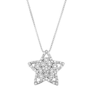 Sterling Silver 1/5 Carat T.W. Diamond Star Pendant Necklace