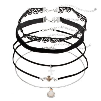 Cross, Lace & Velvet Choker Necklace Set