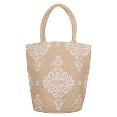 KAF HOME Medallion Jute Bucket Bag