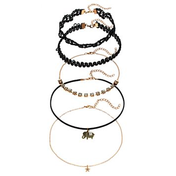 Black Lace, Elephant, Star & Simulated Crystal Choker Necklace Set