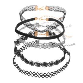 Lace, Velvet & Scalloped Choker Necklace Set