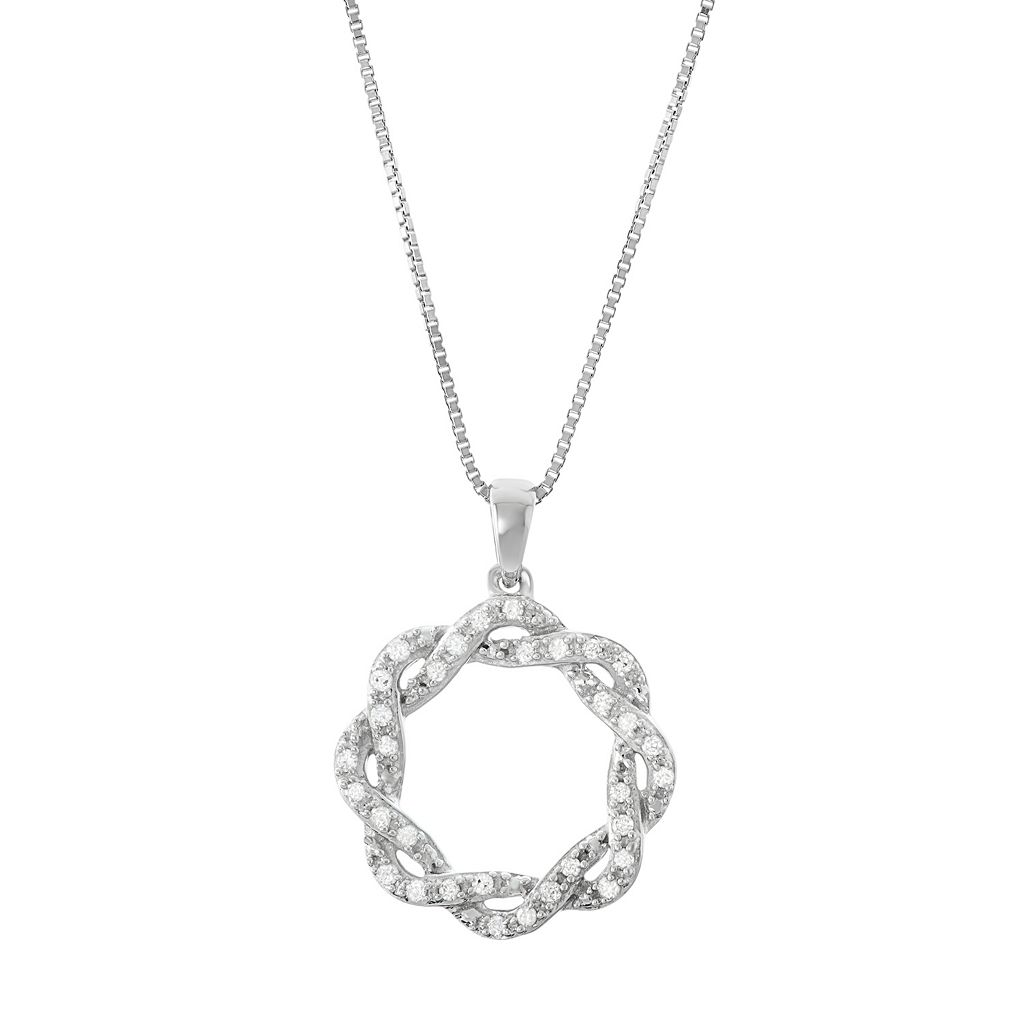 Sterling Silver 1/6 Carat T.W. Diamond Intertwined Pendant Necklace