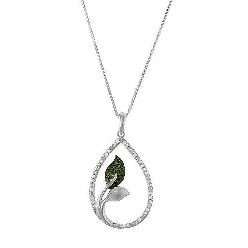 Sterling Silver 1/5 Carat T.W. Diamond Teardrop Leaf Pendant Necklace