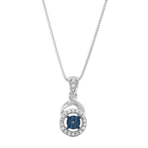 Sterling Silver 1/8 Carat T.W. Diamond Circle Halo Pendant Necklace
