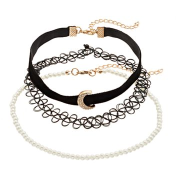 Crescent, Simulated Pearl & Tattoo Choker Necklace Set