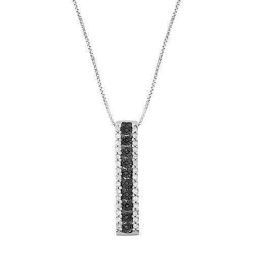 Sterling Silver 1/5 Carat T.W. Black Diamond Stick Pendant Necklace