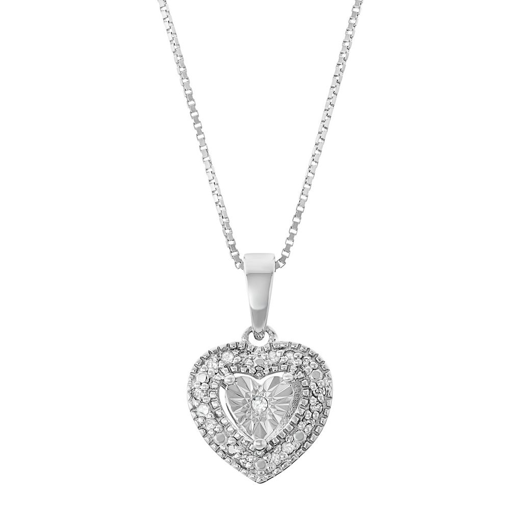 Sterling Silver 1/10 Carat T.W. Diamond Heart Pendant Necklace