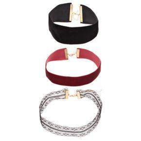 Velvet & Floral Lace Choker Necklace Set