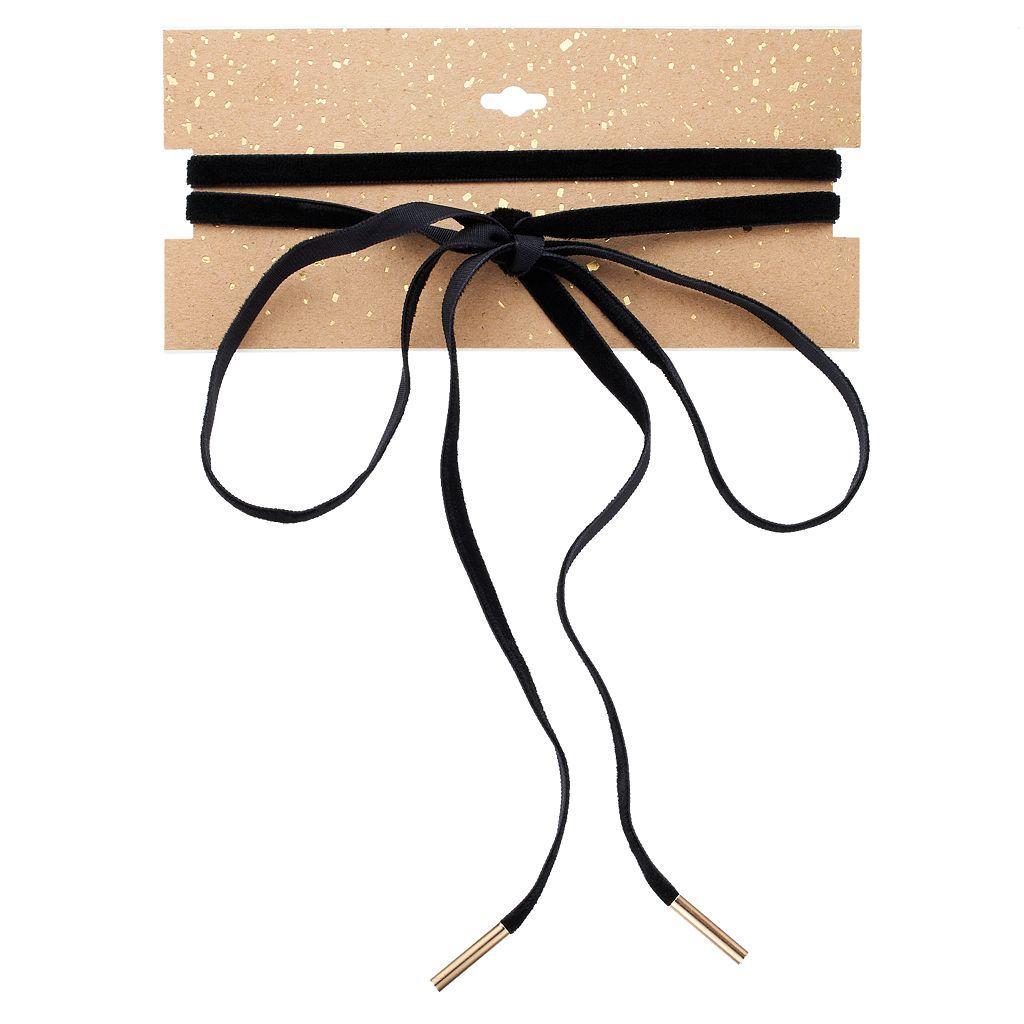 Velvet Tie Lariat Necklace