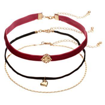 Heart & Medallion Velvet Choker Necklace Set