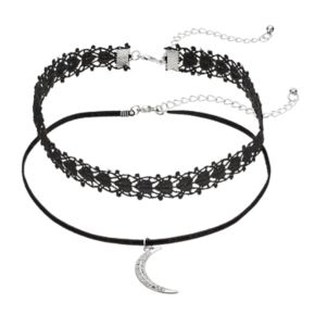 Crescent Pendant & Lace Choker Necklace Set