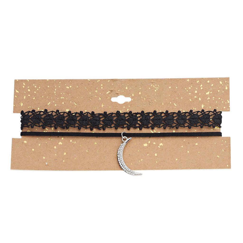 Crescent Pendant & Lace Choker Necklace Set