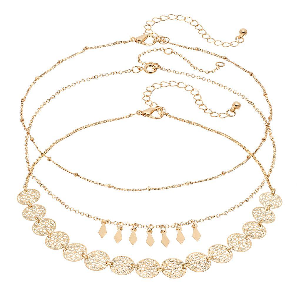 Filigree Disc, Shaky Kite & Beaded Choker Necklace Set