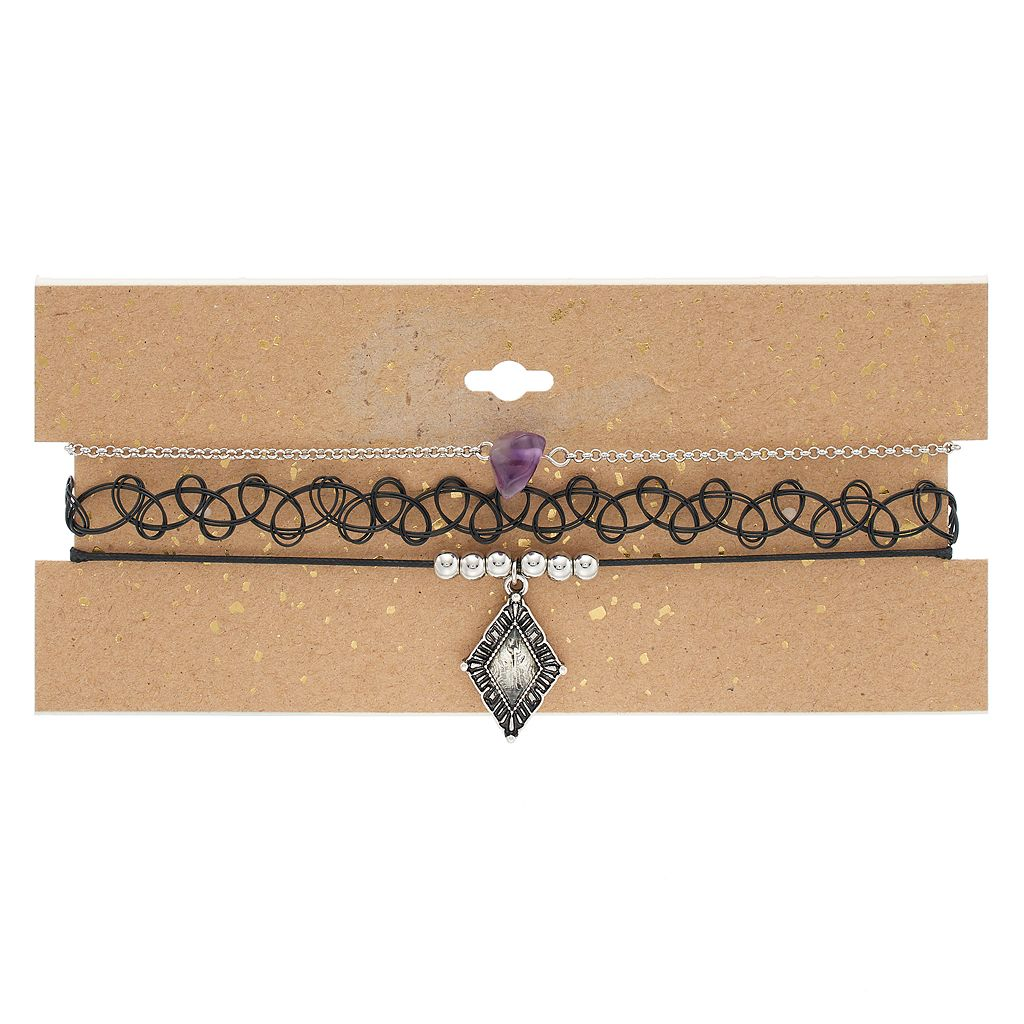 Purple Stone, Tribal & Tattoo Choker Necklace Set