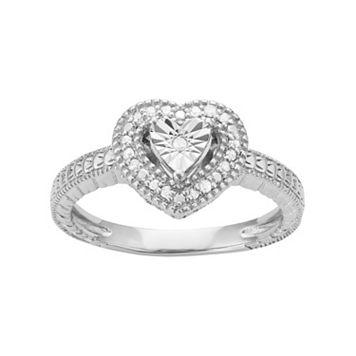 Sterling Silver 1/10 Carat T.W. Diamond Heart Halo Ring