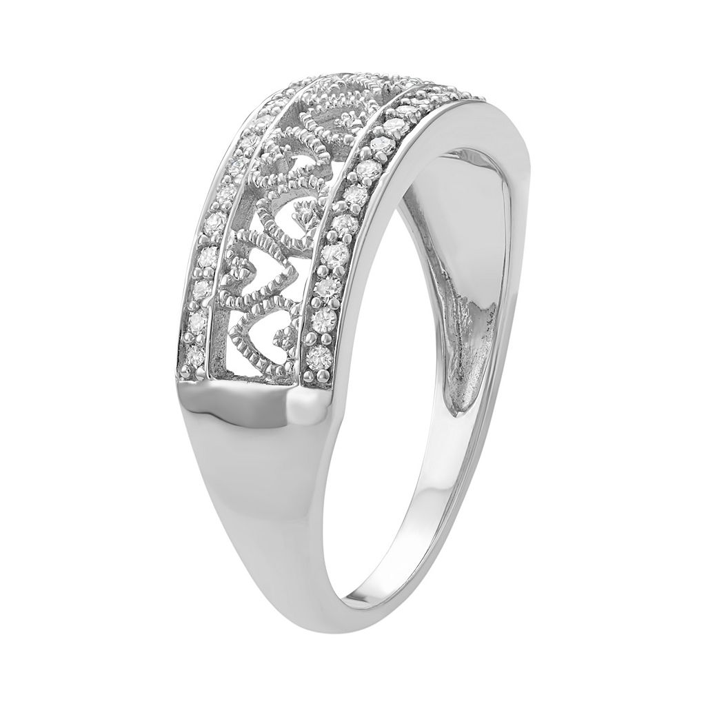 Sterling Silver 1/4 Carat T.W. Diamond Heart Promise Ring