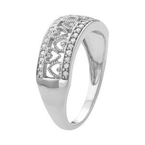 Sterling Silver 1/4 Carat T.W. Diamond Heart Promise Ring