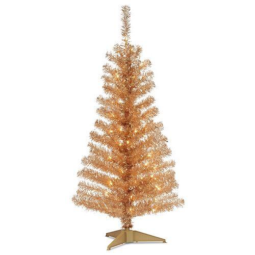 national tree company 4 ft pre lit tinsel artificial christmas tree floor decor