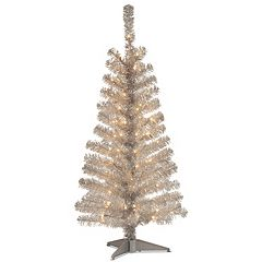 National Tree Company 4-ft. Pre-Lit Tinsel Artificial Christmas Tree Floor Decor