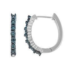 Sterling Silver Blue Diamond Accent Hoop Earrings